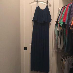 Pleated Navy blue maxi